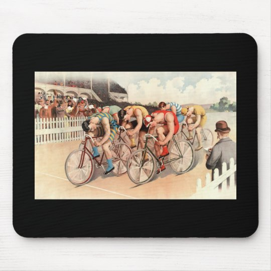 Bicycle race scene mouse pad