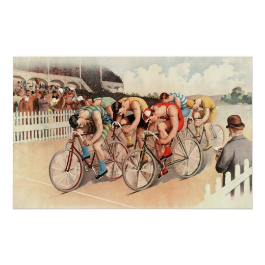 Bicycle race scene poster