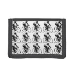 Bicycle Racer Bike Rider in Black Sports Pattern Wallets