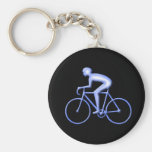 Bicycle Racing in Blue Basic Round Button Keychain