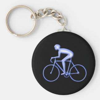 Bicycle Racing in Blue Keychain