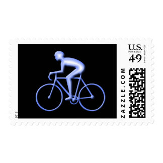 Bicycle Racing in Blue Postage