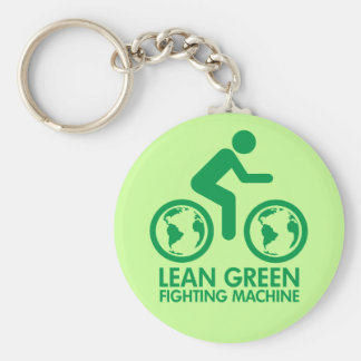 Bicycle Recycle Green Basic Round Button Keychain