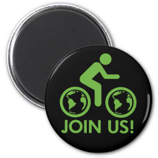 Bicycle Recycle Green Join 2 Inch Round Magnet