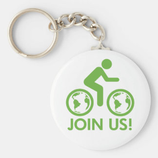 Bicycle Recycle Green Join Basic Round Button Keychain