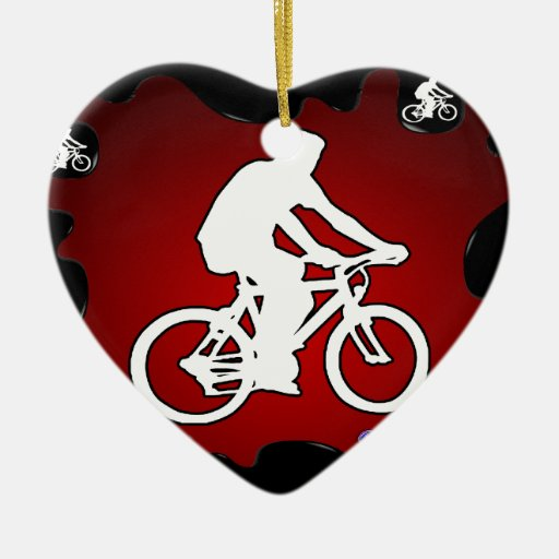 BICYCLE  RED BACKGROUND PRODUCTS CHRISTMAS ORNAMENTS
