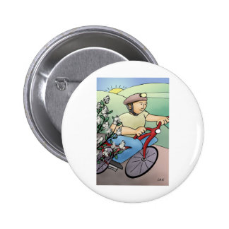 Bicycle Rider at Sunset Button