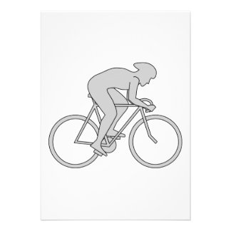 Bicycle Rider in Gray. Custom Invitations
