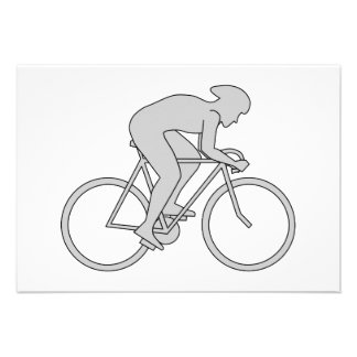 Bicycle Rider in Gray. Custom Announcements