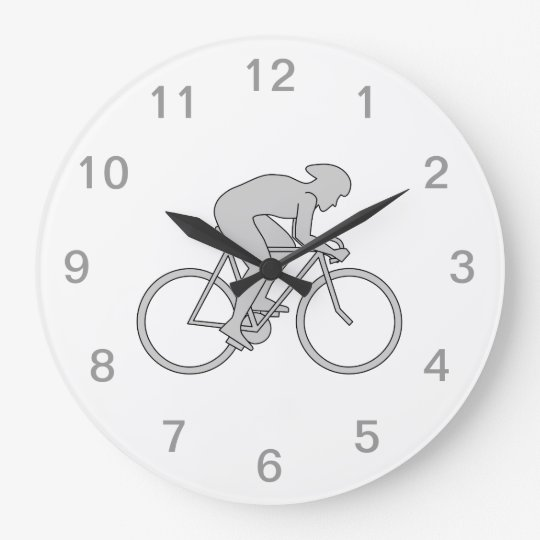 Bicycle Rider in Gray. Large Clock