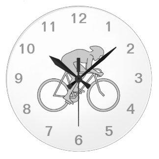 Bicycle Rider in Gray. Wallclock
