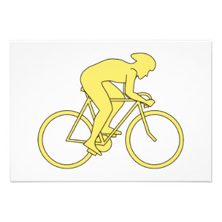 Bicycle Rider in Yellow. Invitations