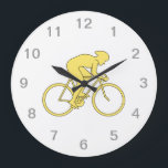 """Bicycle Rider in Yellow. Large Clock<br><div class=""""desc"""">A design in yellow of a bike rider sprinting in a cycling race.</div>"""