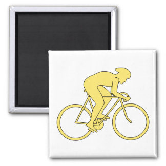 Bicycle Rider in Yellow. Refrigerator Magnet