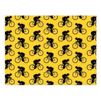 Bicycle Rider Pattern. Yellow and Black. Postcard