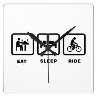 Bicycle Rider Square Wall Clock