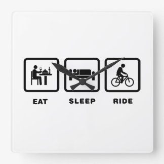 Bicycle Rider Square Wallclocks