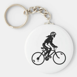 Bicycle Riding Basic Round Button Keychain