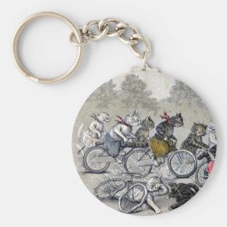 Bicycle Riding Cats Basic Round Button Keychain