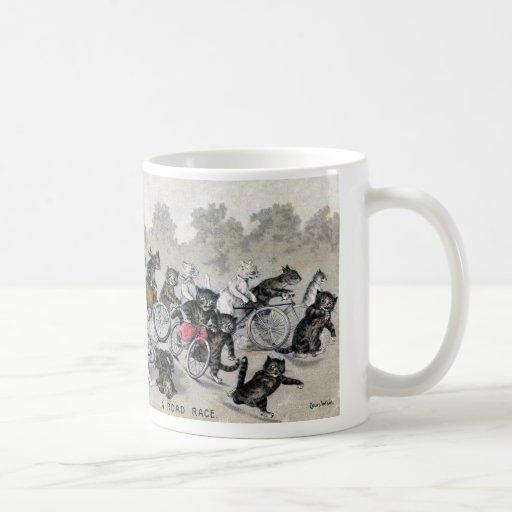 Bicycle Riding Cats Classic White Coffee Mug