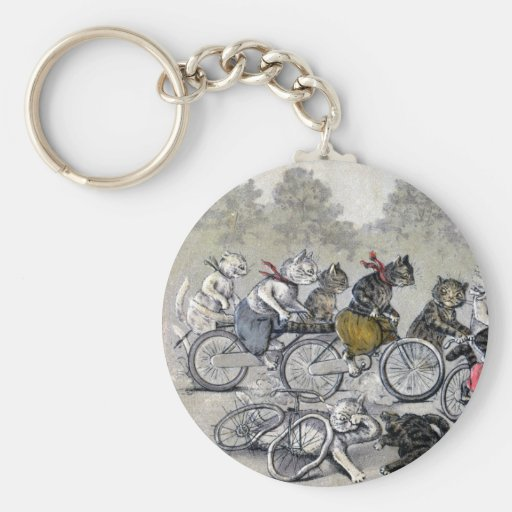 Bicycle Riding Cats Key Chain