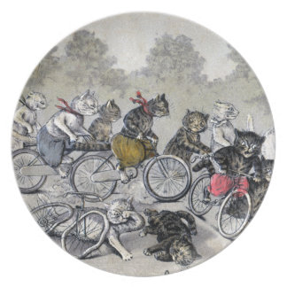 Bicycle Riding Cats Melamine Plate