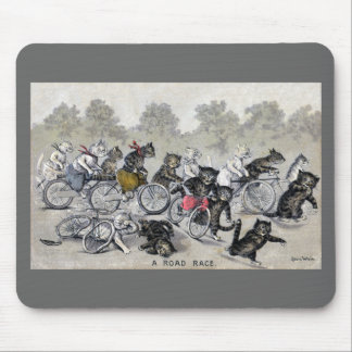 Bicycle Riding Cats Mouse Pad