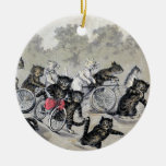 Bicycle Riding Cats Double-Sided Ceramic Round Christmas Ornament