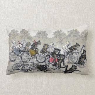 Bicycle Riding Cats Throw Pillows
