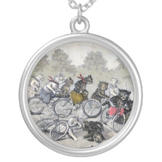 Bicycle Riding Cats Silver Plated Necklace