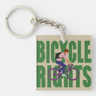 Bicycle Rights in Green Keychain