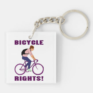 Bicycle Rights in Purple Keychain