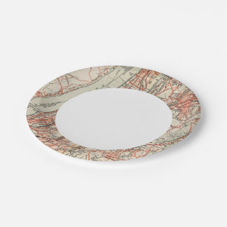 Bicycle Roads in New York and Conneticut 3 Paper Plate
