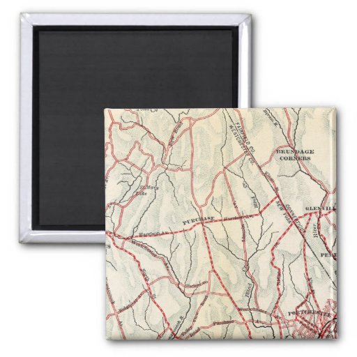 Bicycle Roads in New York and Conneticut 6 2 Inch Square Magnet