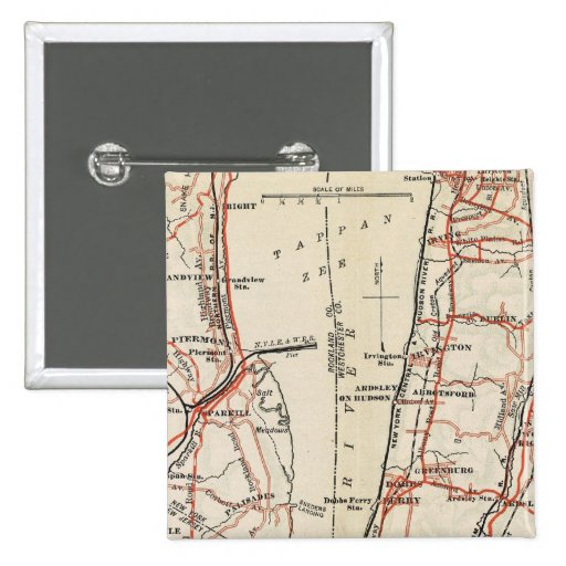 Bicycle Roads in New York and Conneticut 7 2 Inch Square Button