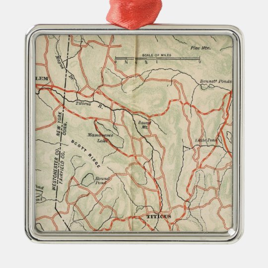 Bicycle Roads in New York and Conneticut 7 Metal Ornament