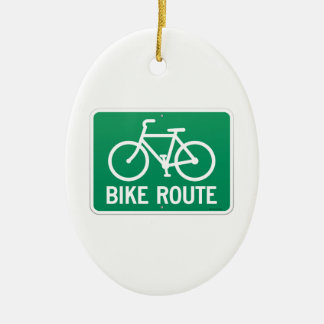 Bicycle Route Sign Double-Sided Oval Ceramic Christmas Ornament