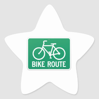 Bicycle Route Sign Star Sticker