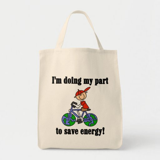 Bicycle Save Energy T-shirts and Gifts Grocery Tote Bag