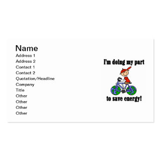 Bicycle Save Energy T-shirts and Gifts Business Cards