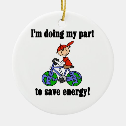 Bicycle Save Energy T-shirts and Gifts Ornament