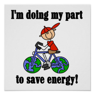 Bicycle Save Energy T-shirts and Gifts Poster