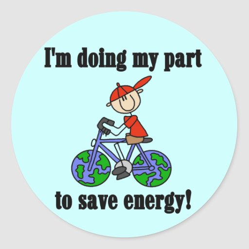 Bicycle Save Energy T-shirts and Gifts Round Stickers