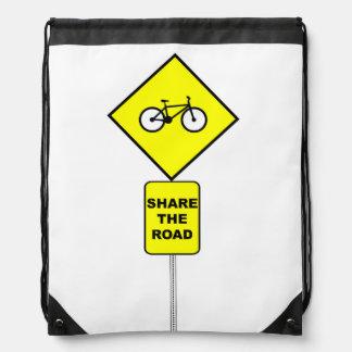 Bicycle Share The Road Drawstring Bag