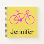 [ Thumbnail: Bicycle Silhouette + Custom Name On Yellow Notebook ]