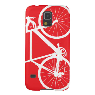 Bicycle Silhouette Minimal Art Red and White Case For Galaxy S5