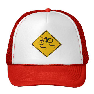 Bicycle Slippery When Wet,Traffic Warning Sign,US Mesh Hats
