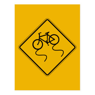 Bicycle Slippery When Wet,Traffic Warning Sign,US Postcard