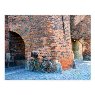 Bicycle, St. Nicholas Church, Copenhagen, Denmark Postcard