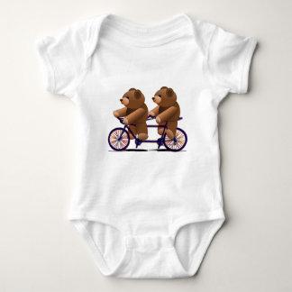 Bicycle Tandem, Teddy Bear Print Baby Bodysuit